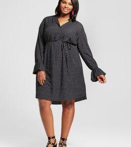 Ava Viv Flutter Sleeve Print Belted Dress Size 2X